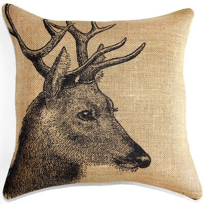Deer Burlap Throw Pillow Color: Black / Natural