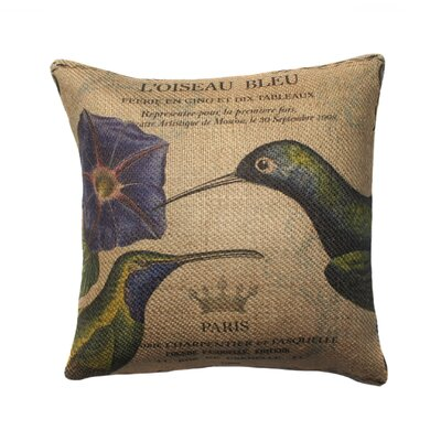 Hummingbird Burlap Throw Pillow