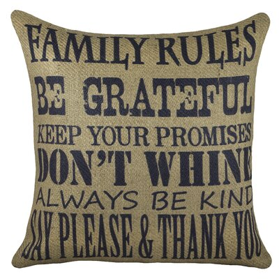 Family Rules Burlap Throw Pillow Color: Navy