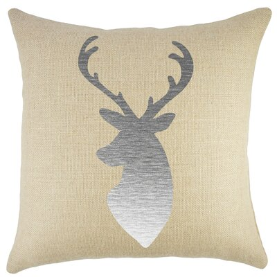 Deer Burlap Throw Pillow Color: Silver