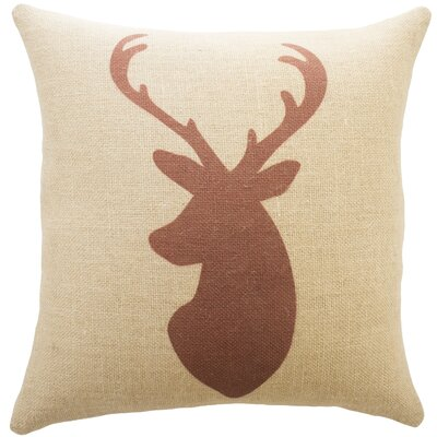 Deer Burlap Throw Pillow Color: Red