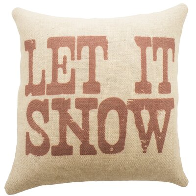 Let It Snow Burlap Throw Pillow Color: Red