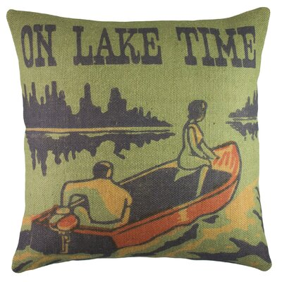 On Lake Time Burlap Throw Pillow