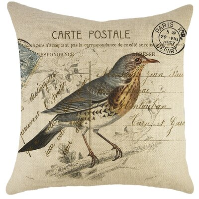Bird on Branch Burlap Throw Pillow
