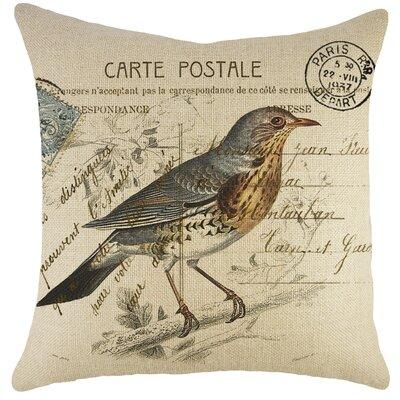 Bird on Branch Burlap Throw Pillow
