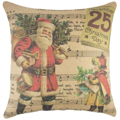 Christmas Day Burlap Throw Pillow