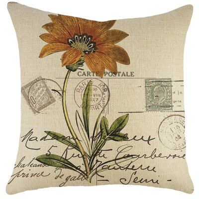 Carte Postale Burlap Throw Pillow