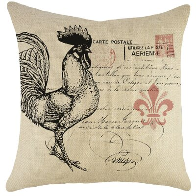 Rooster Burlap Throw Pillow