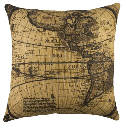 Map Burlap Throw Pillow