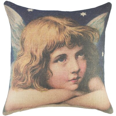 Angel Burlap Throw Pillow