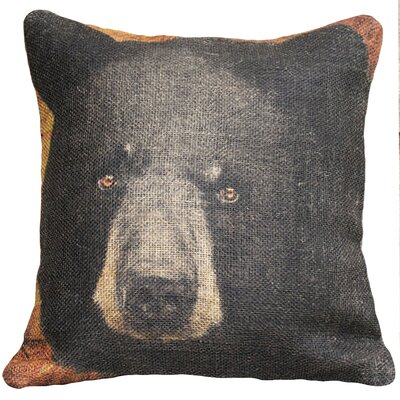 Bear Burlap Throw Pillow