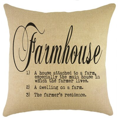 Farmhouse Burlap Throw Pillow Color: Black