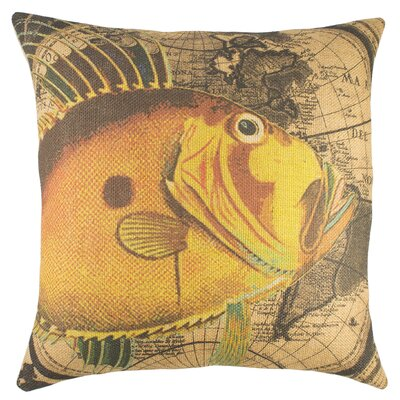 Map with Fish Burlap Throw Pillow