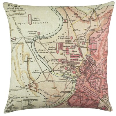 Roma Map Cotton Throw Pillow