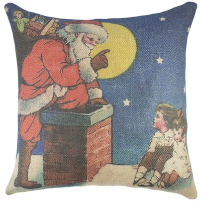 Santa Burlap Throw Pillow