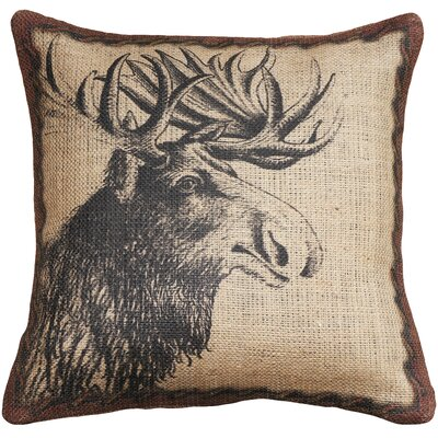 Moose Burlap Throw Pillow Color: Beige