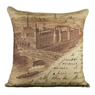 Postcard Cotton Throw Pillow