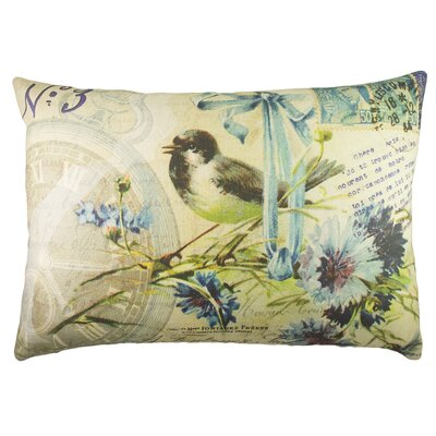 Bird with Flowers Cotton Lumbar Pillow