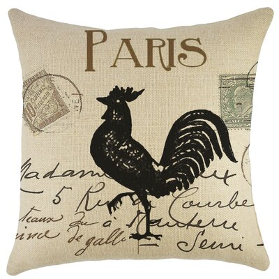 Paris Rooster Burlap Throw Pillow