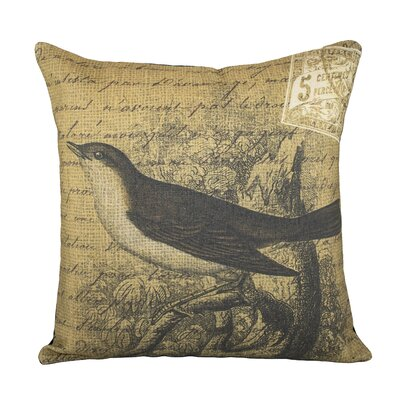 Bird on Branch Cotton Throw Pillow