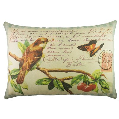 Bird and Butterfly Cotton Lumbar Pillow