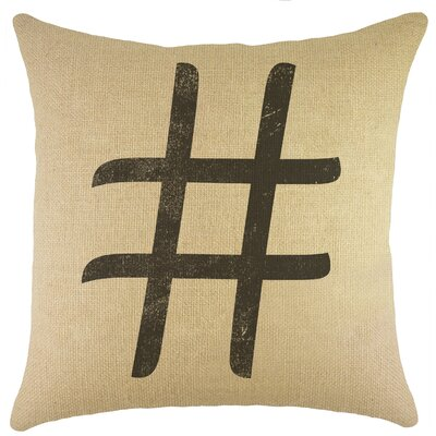 Hashtag Burlap Throw Pillow