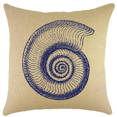 Seashell Burlap Throw Pillow Color: Navy