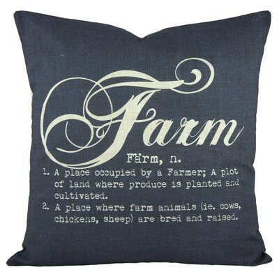 Farm Cotton Throw Pillow Color: Blue
