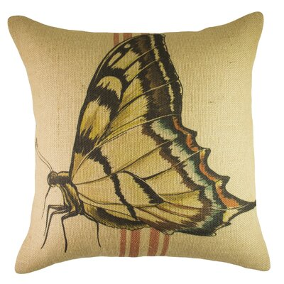 Butterfly Burlap Throw Pillow Color: Red / Yellow / Blue
