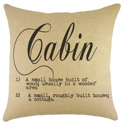 Cabin Burlap Throw Pillow Color: Black