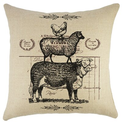 Cow Sheep Chicken Burlap Throw Pillow