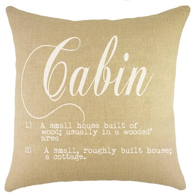 Cabin Burlap Throw Pillow Color: White
