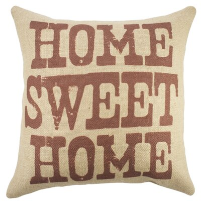 Home Sweet Home Burlap Throw Pillow Color: Beige / Red