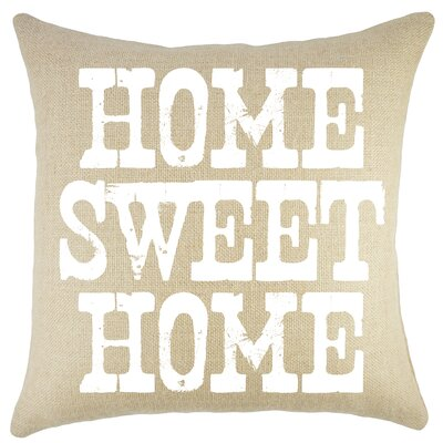 Home Sweet Home Burlap Throw Pillow Color: Natural