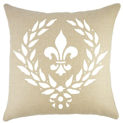 Crest Burlap Throw Pillow Color: White / Natural