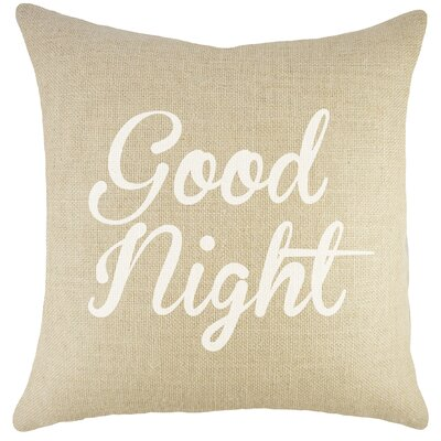 Good Night Burlap Throw Pillow