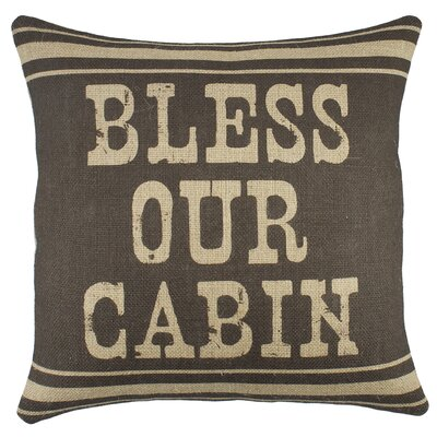 Bless Our Cabin Burlap Throw Pillow