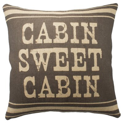 Cabin Sweet Cabin Burlap Throw Pillow