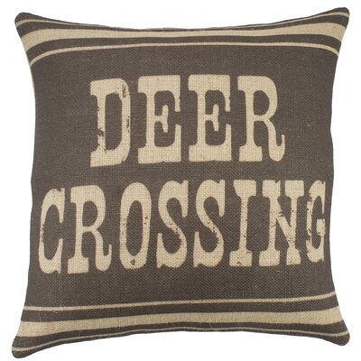 Deer Crossing Burlap Throw Pillow