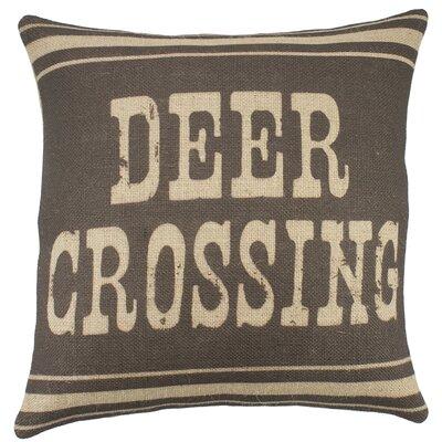 Deer Crossing Burlap Throw Pillow