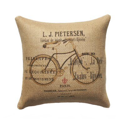 French Bike Burlap Throw Pillow