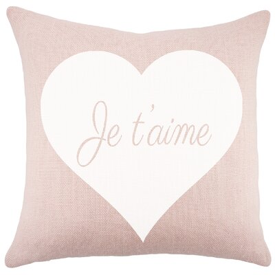 Je Taime Burlap Throw Pillow