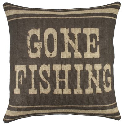 Gone Fishing Burlap Throw Pillow