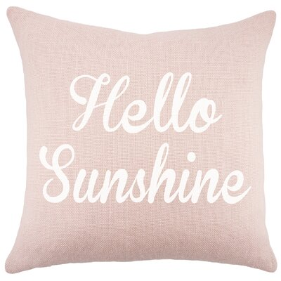 Hello Sunshine Burlap Throw Pillow