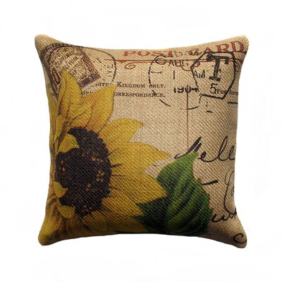 French Sunflower Burlap Throw Pillow