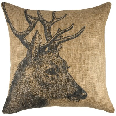 Deer Burlap Throw Pillow Color: Brown / Black