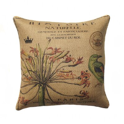 Bird Burlap Throw Pillow