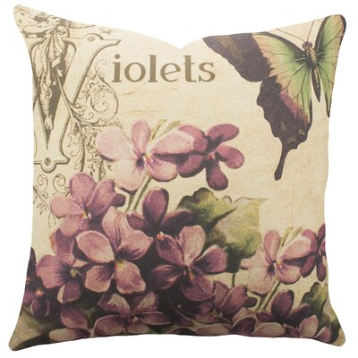 Violets Cotton Throw Pillow