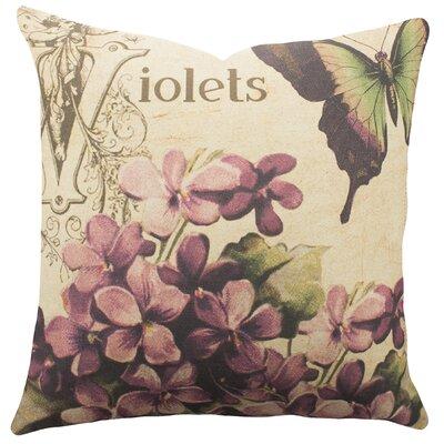 Violets Cotton Throw Pillow