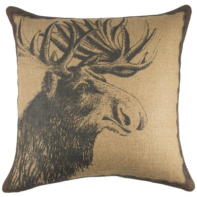 Moose Burlap Throw Pillow Color: Copper